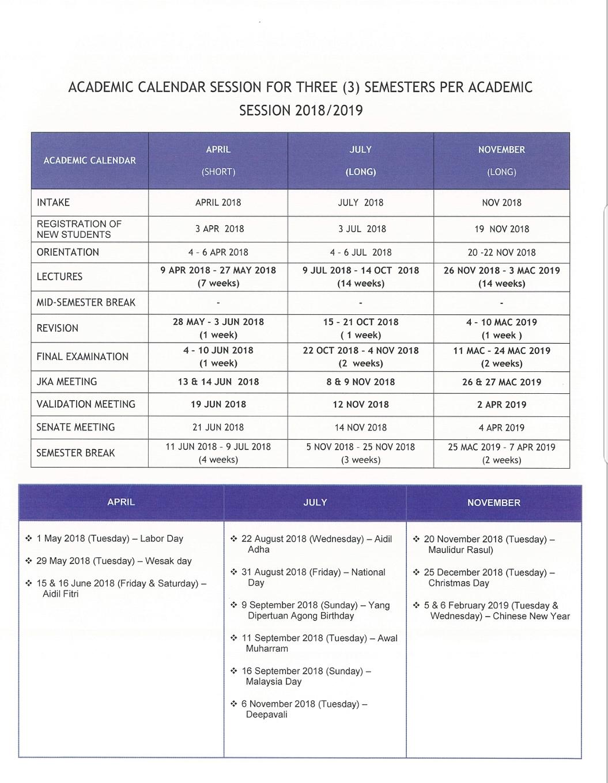 Kalendar Akademik Sesi April Julai Dan November 2018 2019 Dan 2019 2020